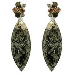 Rutilated Quartz and White Diamond 18 Karat Gold Cocktail Earrings