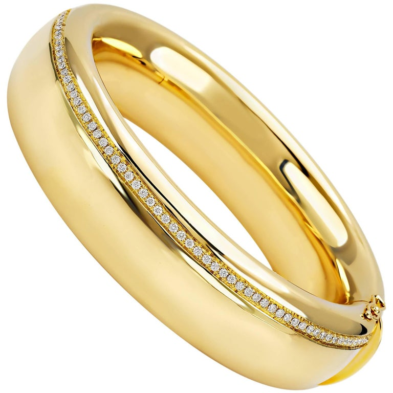 "Bangle from the Collection ""Essence"" 18 Karat Yellow Gold and Diamonds"