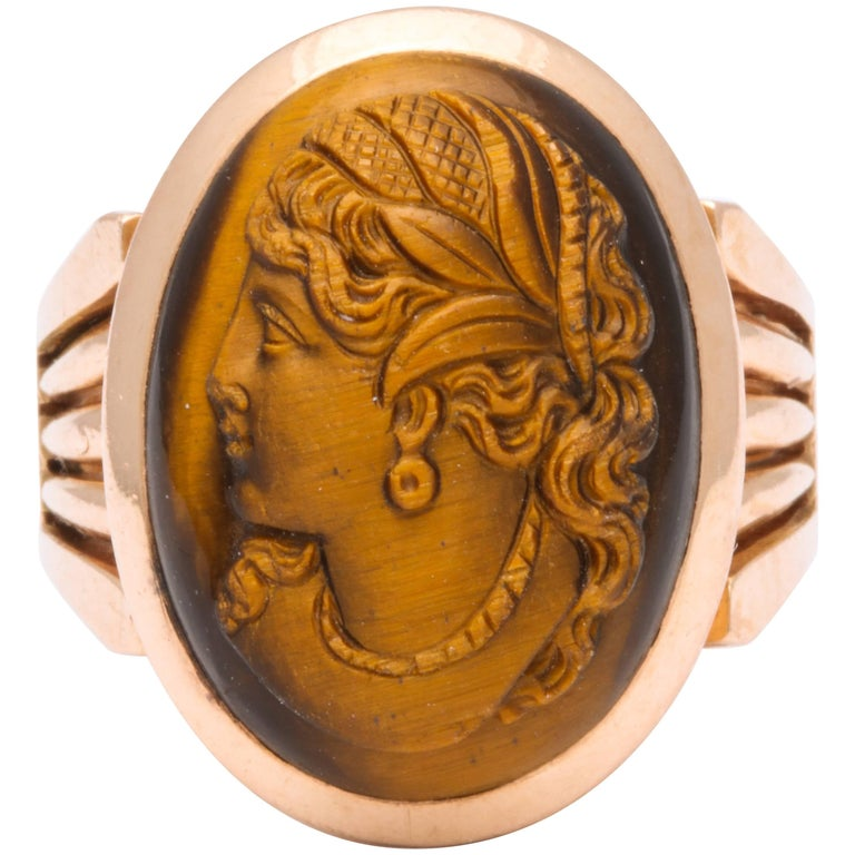 Antique Victorian Tiger Eye Stone Cameo Gold Ring For Sale