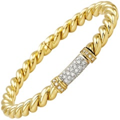 "Bangle from the Collection ""Rope"" 18 Karat Yellow Gold and Diamonds"
