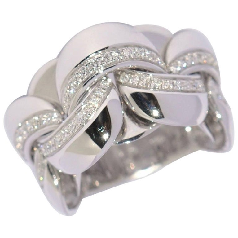 White Gold and White Diamonds Link Infinity Ring