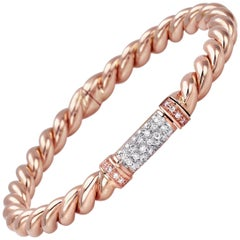 """Bangle from the Collection """"Rope"""" 18 Karat Rose Gold and Diamonds"""