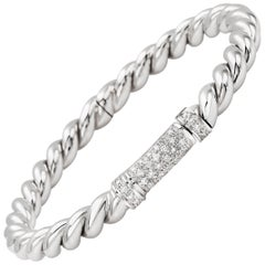 """Bangle from the Collection """"Rope"""" 18 Karat White Gold and Diamonds"""