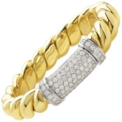 """Bangle from the Collection """"Rope"""" 18 Karat Yellow Gold and Diamonds"""