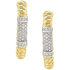 """Pair of Earrings from the Collection """"Rope"""" 18 Karat Yellow Gold and Diamonds"""
