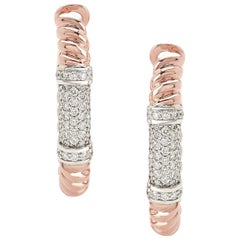 """Pair of Earrings from the Collection """"Rope"""" 18 Karat Rose Gold and Diamonds"""