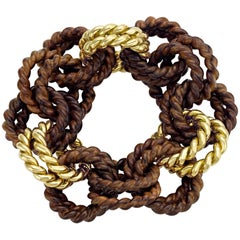 "Bracelet from the Collection ""Rope"" 18 Karat Yellow Gold and Rosewood"