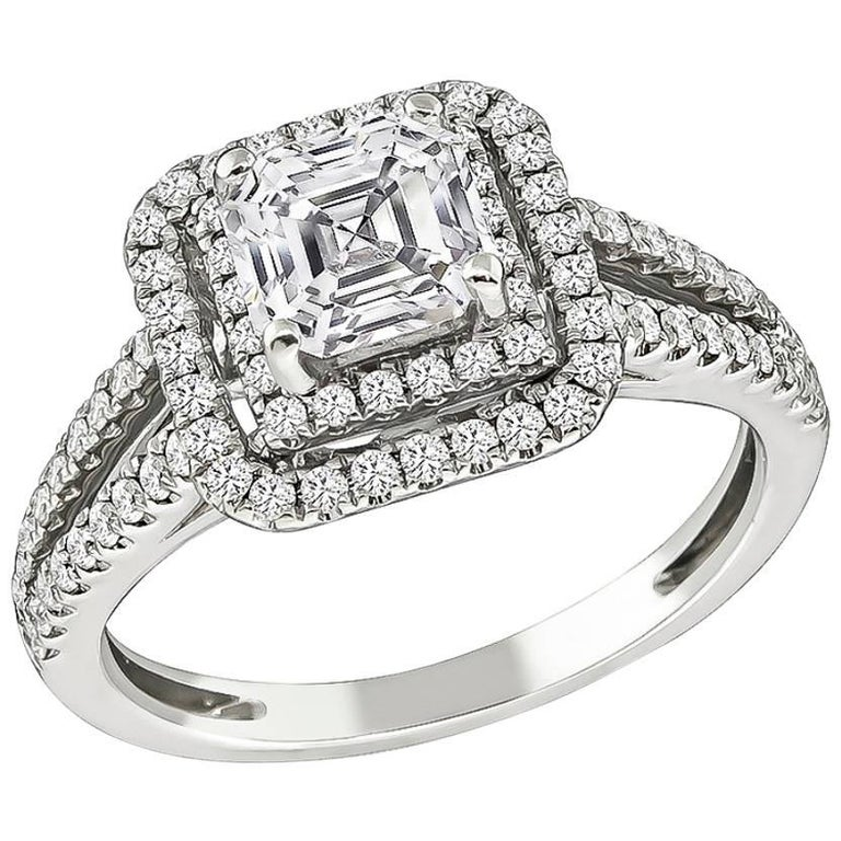 1.06 Carat Square Emerald Cut Diamond Double Halo Engagement Ring