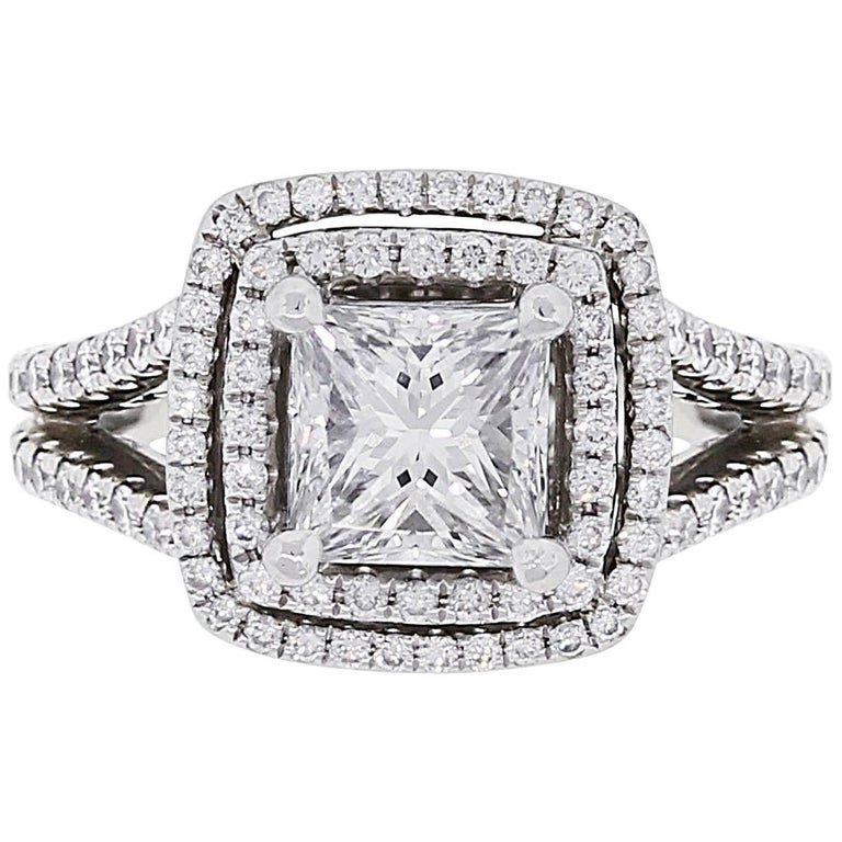 GIA Certified 1.57 Carat Princess Cut Diamond Double Halo Engagement Ring