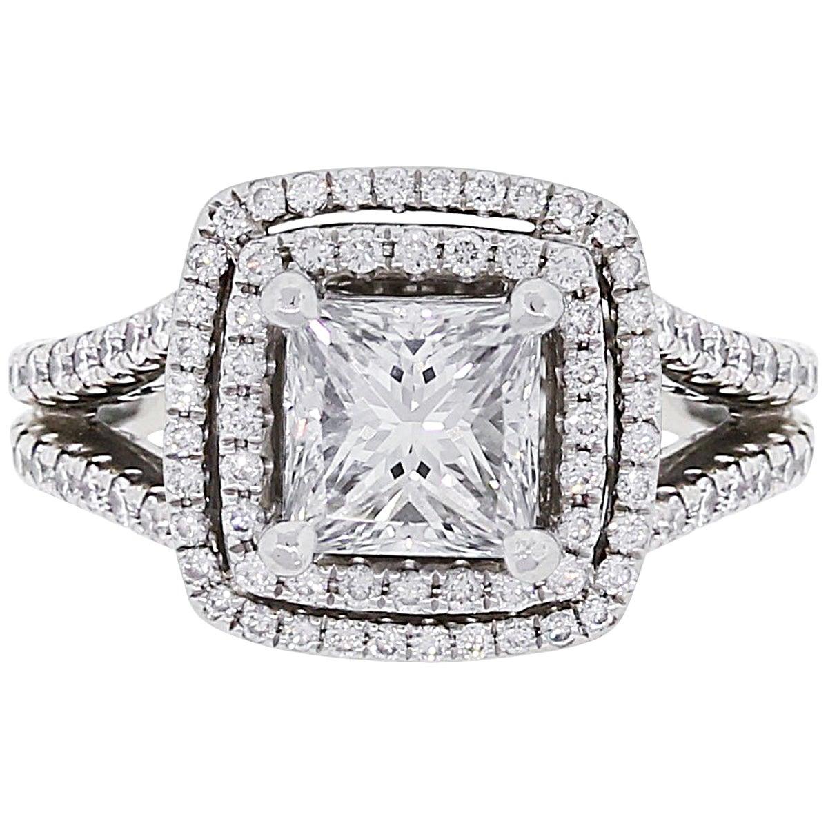 GIA Certified 1.57 Carat Princess Cut Diamond Double Halo Engagement Ring