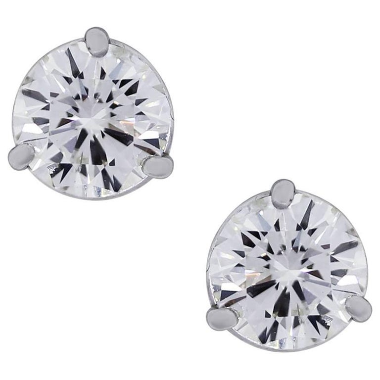 2.50 Carat Total Round Brilliant Diamond Stud Earrings