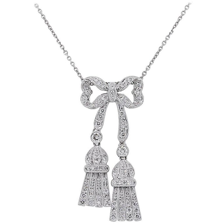 Diamond Bow Tassel Pendant Necklace