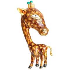 1955 18 Karat Yellow Gold and Enamel Giraffe Brooch