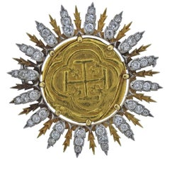 Buccellati Byzantine Ancient Coin Diamond Gold Brooch