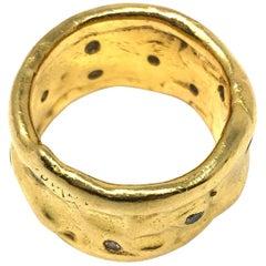 Jean Mahie 22 Karat Yellow Gold Ring Band with Diamonds
