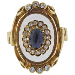 Lalaounis Greece Diamond Sapphire Crystal Gold Ring