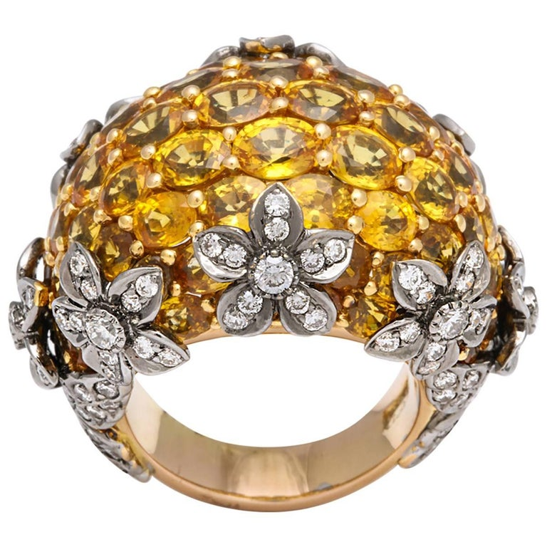 18 Karat Yellow Gold Yellow Sapphire and Diamond Dome Ring