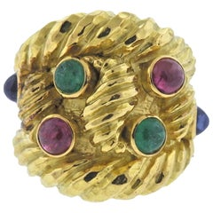 David Webb Ruby Sapphire Emerald Gold Ring
