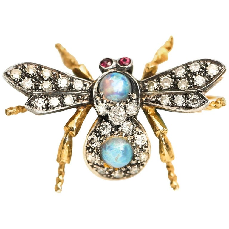 1950s Diamond Ruby Opal 18 Karat Gold and Sterling Silver Insect Brooch Pendant