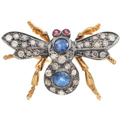 1950s Diamond Sapphire Ruby 18 Karat Gold Sterling Silver Insect Brooch Pendant