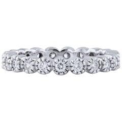H & H 0.62 Carat Diamond Ten Prong Band Ring