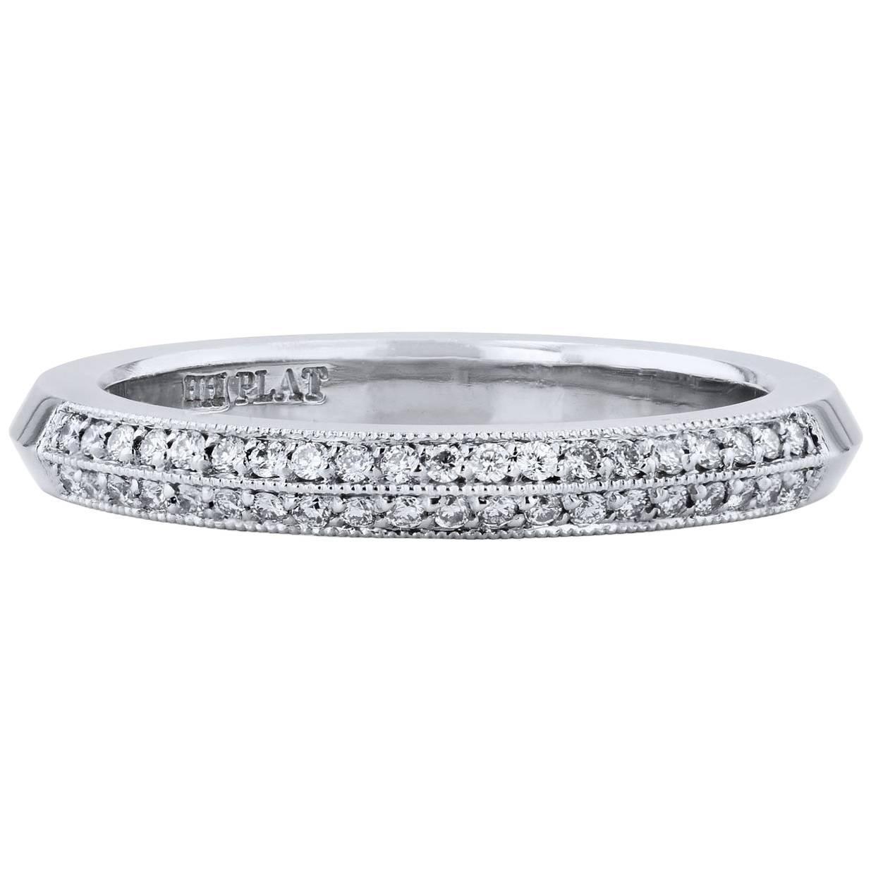 H&H 0.14 Carat Diamond Pave Platinum Wedding Band Ring