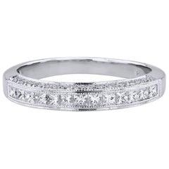 0.60 Carat Princess Cut and Round Brilliant Cut Diamond Band Ring