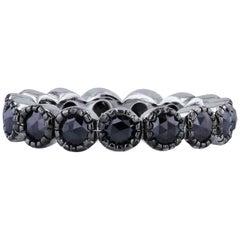 H & H 1.60 Carat Black Diamond Ten Prong Band Ring