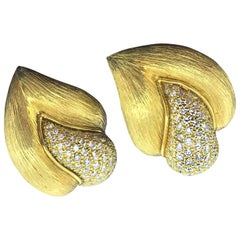 Pair of Diamond Round Pave Set Ear Clips 1.92 Carat