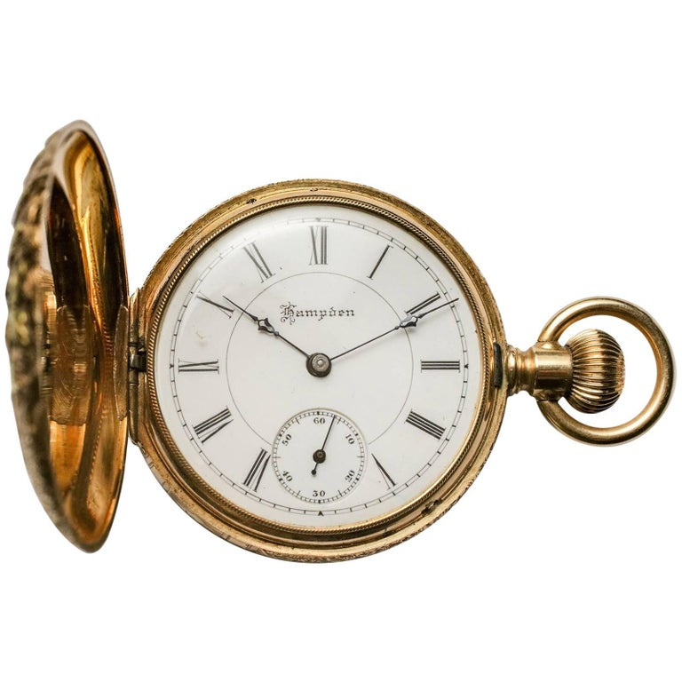 Hampden Multi-Color Gold Large Antique Pocket Watch For Sale