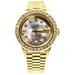 Rolex Ladies Yellow Gold Diamond Mother-of-Pearl President Automatic Wristwatch