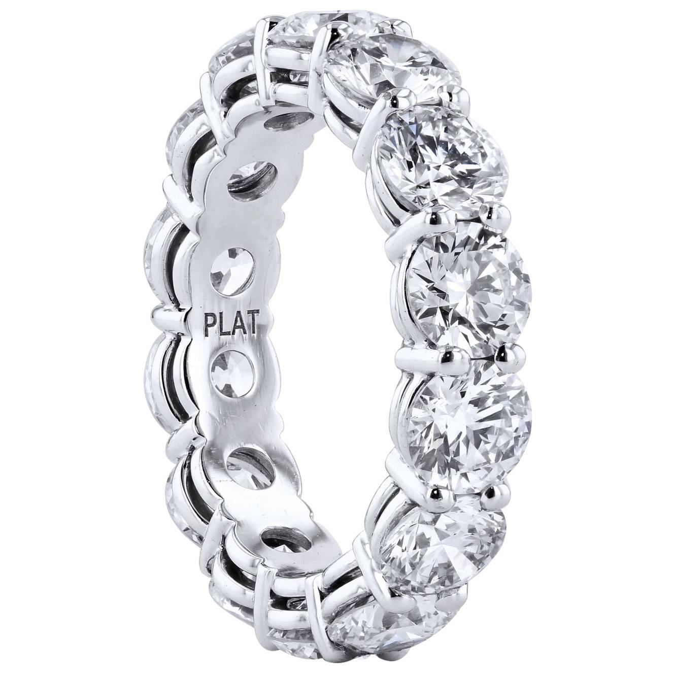 Handmade 5.83 Carat Diamond Shared-Prong Eternity Band Ring
