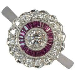 Ruby and Vs Diamond 18 Carat White Gold Target Ring