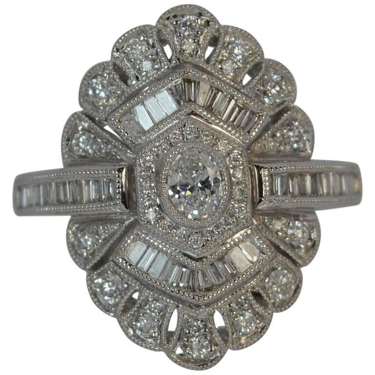 Edwardian Design 18 Carat White Gold and Diamond Cluster Ring