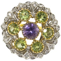 Diamonds Tsavorite Amethyst Yellow and White Gold Flower Ring