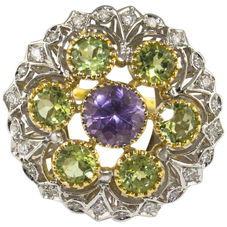 Diamonds Tsavorite Amethyst Yellow and White Gold Flower Ring