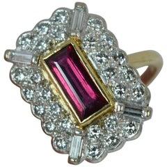 Ruby and 1.00 Carat Diamond 18 Carat Gold Panel Ring