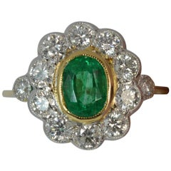 Columbian Emerald & 1.00 Carat Diamond 18 Carat Gold Cluster Ring
