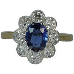 1.00 Carat Sapphire and 1.00 Carat Diamond 18 Carat Gold Cluster Ring