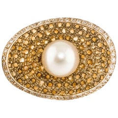 Rose Gold Ring with Diamonds, Topazes and Pearl