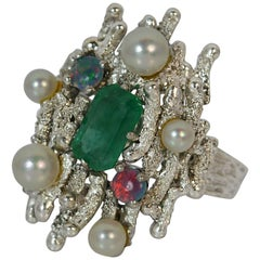 Emerald Opal and Pearl 18 Carat White Gold Cocktail Ring