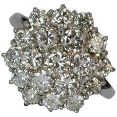 2.30 Carat Diamond 18 Carat White Gold Cluster Ring