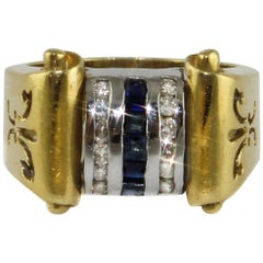 18 Karat Yellow and White Gold Ring with Diamonds and Sapphires