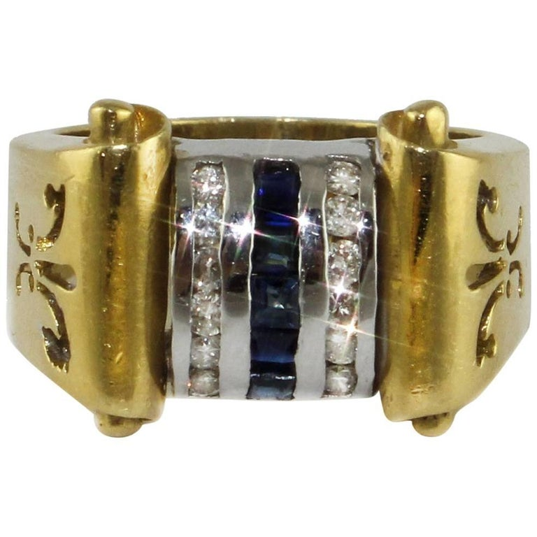 Diamonds Sapphires Yellow and White Gold Ring