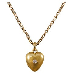 Late Victorian Diamond Set Heart Locket Necklace in 15ct Gold and 9ct Gold Chain