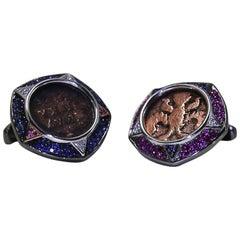 Rose Gold Diamond Ruby Sapphire Antique Coin Cufflinks
