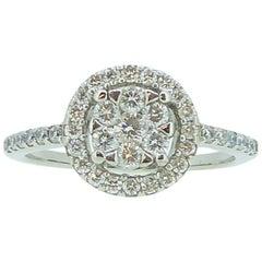 Round Diamond Cluster 18 Carat White Gold Engagement Ring