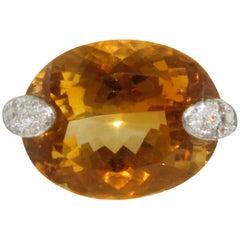 Diamonds Topaz Yellow Gold Ring