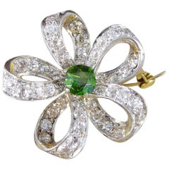 Antique Green Garnet and Diamond Brooch Pendant