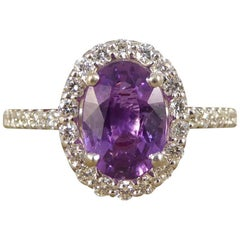 Purple Sapphire Diamond 18 Carat White Gold Engagement Ring